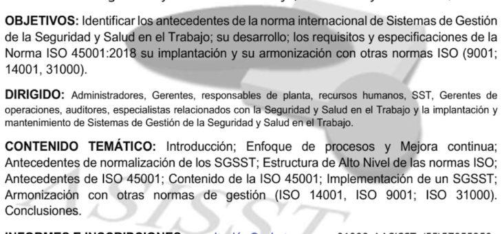 Implantación de ISO 45001:2018; Sistemas de Gestión de la seguridad y salud en el trabajo.